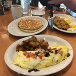 Florentine turkey omelet, short stack pancakes and hill country breakfast