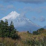 Taranaki in a moment of few clouds