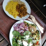 Cumin brown rice with dhal and curry; A salad plate full of wonderful food