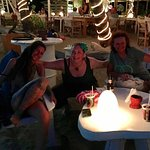 Beach seating and cute lights at Gusto!
