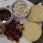 PULLED PORK, BAKED BEANS AND COLESLAW
