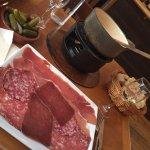 Fondue with ham plate