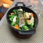 Steamed cod fillet, seasonal vegetables with olive oil and lemon honey vinaigrette