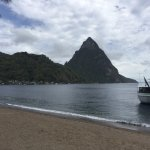 View of the Petit Pitons from the beach next to the Hummingbird