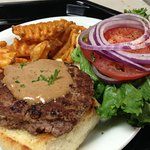 Our burgers are always a hit at Perry's Restaurant. in Ketchum, Idaho.