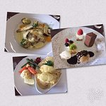 Lovely lunch - our favourite dish was the mushroom ravioli dish (top left)