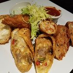 Egg Roll's sampler. Philly Cheese Steak, Buffalo Chicken, Bolognaise and Mozzerella Sticks