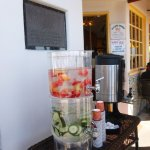 Fresh fruit water and coffee, if you have to wait for a table