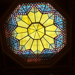 Stained glass skylight visible from the 3rd floor stairway