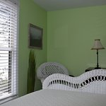 Dunegrass room with 1 Queen bed. View of Lake Michigan