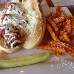 Meatball sub with sweet potato fries! Delicious!