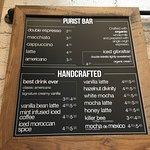 the coffee menu
