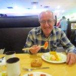 Louis eating at Hibachi Grill & Supreme Buffet.