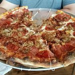 All Meat Pizza. Thin crust, but was a bit doughy.