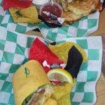 Philly Quesadilla and Crabby Pattie Avocado Wrap