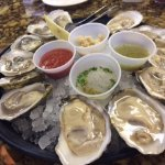 Fresh oysters at Coastal Provisions. The big guys are Hatteras Salts; smaller ones Pamlico Bount