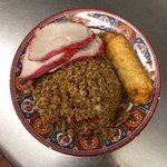 Combination plate with our lean pork strips, homemade egg roll, and classic pork fried rice.