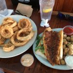Onion rings, catfish and fried okra