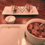 Sopa de tortilla & jícama shrimp tacos