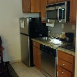 Kitchenette area - would be nice if fridge door didn't open on the wrong side.