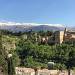 The Alhambra with the Sierra Nevadas in the background.