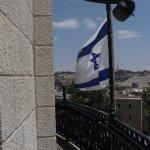 Hurva Synagogue and flag