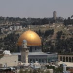 Hurva Synagogue - view to Temple Mount and Mount of Olives