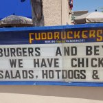 Fuddruckers Sign Out Front