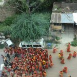 A religious procession photo taken from our room.