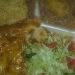Green chile chicken enchiladas with beans and rice -carry out