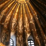 depictions of saints on the ribbed vaulting