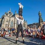 Performers on The Royal Mile during the Edinburgh Fringe Festival
