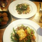 Delicious main courses with side order of falafel
