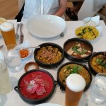 Lunch for 3 people at Peter Kuruvita's, 3 protein curries and 2 vegerarian curries plus+