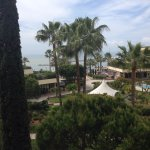 View from our room of the courtyard area and beach zone