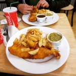 Battered cod with chips and mushy peas!