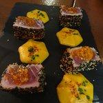 Bocconcini di tonno con crema zucca