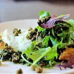 Cumbrian Pork Escalope, fried hen's egg, dressed leaves, salsa verde