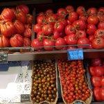 Fresh vegetables shop inside the San Anton Market