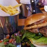 Chicken burger chips and salad; fresh and oh-so-tasty hmmm-mmm
