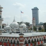 The domes & the towers of the Mosque seen from the nearby Masjid Jamek Metro Station