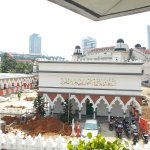 The grounds of the Mosque seen from Masjid Jamek Metro Station nearby