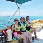 On board the pontoon boat. Big boat can hold lots of folks, we were happy it was just the 3 of u