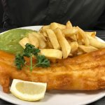 King size fish chips and peas