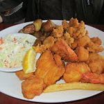 Fried seafood platter - cod, shrimp, scallops, clams, fingerling potatoes and slaw