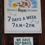 Door sign with hours