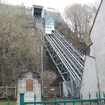 Funiculaire, an inclined elevator, saves a lot of steps between upper and lower Quebec City.