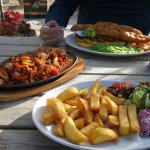 Sizzling Chicken comes with Chips and a salad