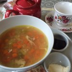 Split Pea and Ham Soup (the cranberry orange scone was so good I ate most of it before taking a