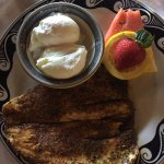 blackened trouth with poached eggs